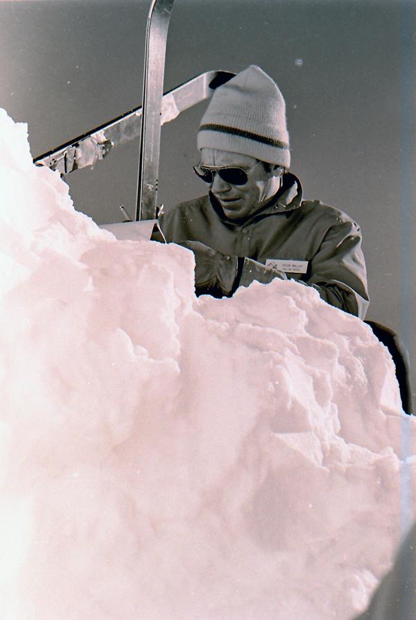 Vail Ski Patrolman Chuck Malloy Doing a snow study